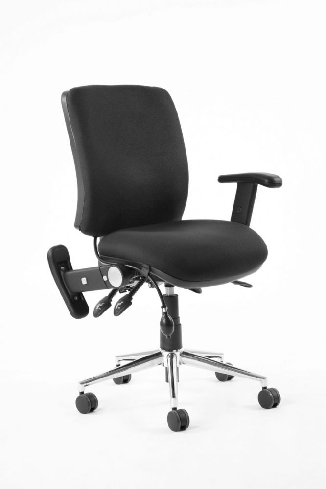 Chiro Medium Back Task Chair Office Operators Height Adjustable Folding Arms Various Colours
